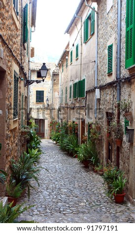 traditional Valldemosa Majorca village streets from Balearic Spain
