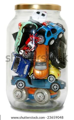 """Traffic Jam""ed in transparent jar with lid isolated on white background"