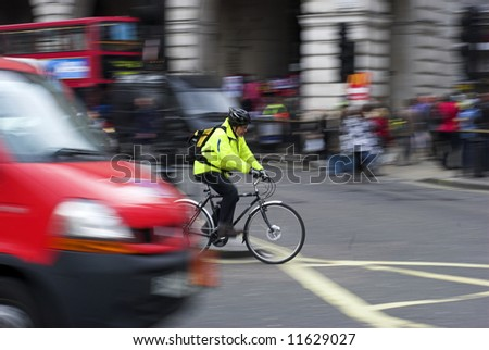 Traffic scene at Piccadilly Circus - London, England - stock photo