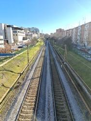 Train tracks, symmetrical view, industrial