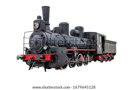 Train with steam locomotive series Ov. Isolated on  white a  background Stock fotó ©