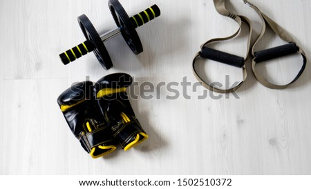 Training material for gym. Abdominal wheel, Boxing gloves, Suspension training ...
