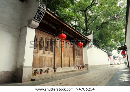 Tranquil Chinese traditional alley with building of the Ming and Qing Dynasty beside,located at Three lanes and seven alleys, fuzhou,China.