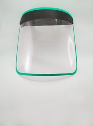 Transparent plastic face shield shield mask for coronavirus. new normal. protection for public transportation.