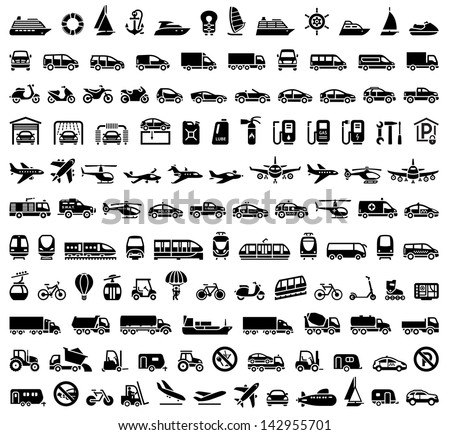 120 Transport icons: Cars, Ships, Trains, Planes. Vector version (eps) also available in gallery