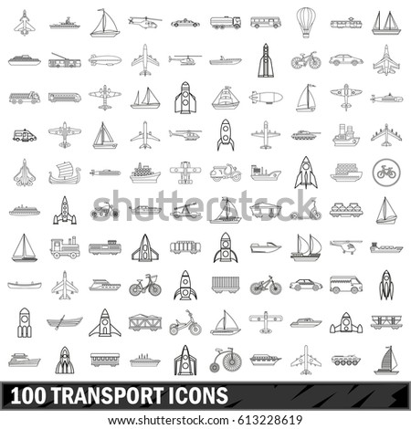 100 transport icons set in outline style for any design  illustration