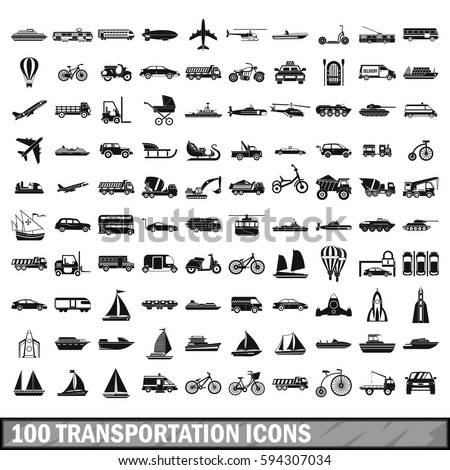 100 transport icons set in simple style. Illustration of transport icons isolated set for any design