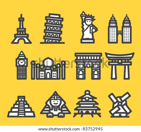 travel, famous international historical landmark monuments icon set
