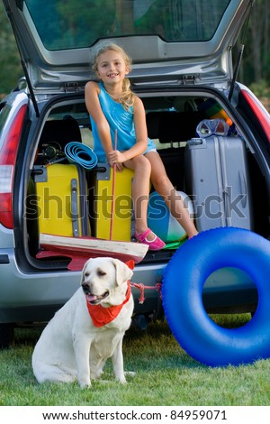 Travel,Vacation - Girl with dog ready for the travel for summer vacation