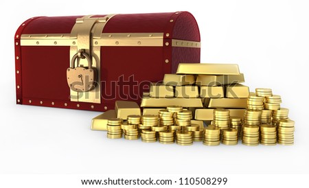 Treasure chest and Gold ingot and money