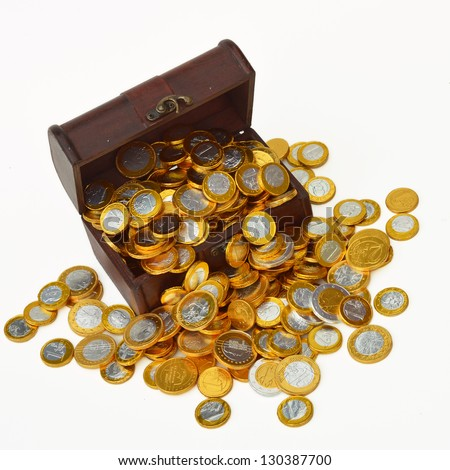 Treasure Chest - Treasury trunk with chocolate candy euro coins on white background.