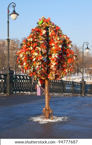 Tree of Love, Luzhkov Bridge. Moscow, Russia - stock photo