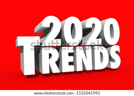 2020 Trends in 3d on red background with white letters