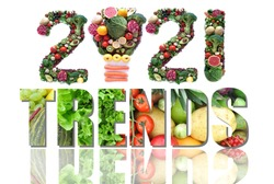 2021 trends made of fruits and vegetables including a light bulb icon