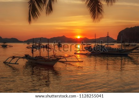 tropical landscape with traditional boats of the Philippines. Elnido, the island of Palawan.