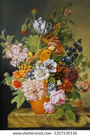 Tulips and roses in an old vase . Poppies, violets, chamomile, daisies . Painting. Still life.