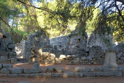 Turkey, Kemer, ancient city Faselis. Stone ruins.