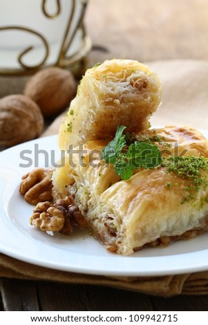 Turkish arabic dessert - baklava with honey and nuts
