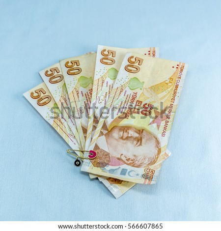50 Turkish banknotes from different angels