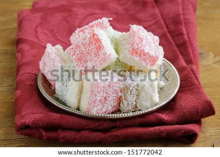 Turkish delight  (rahat lokum) dessert in coconut flakes