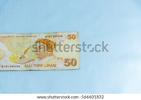 50 Turkish lira banknotes in different shapes