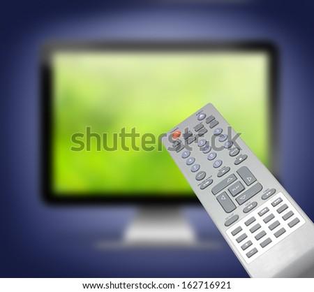 tv remote control defocused television