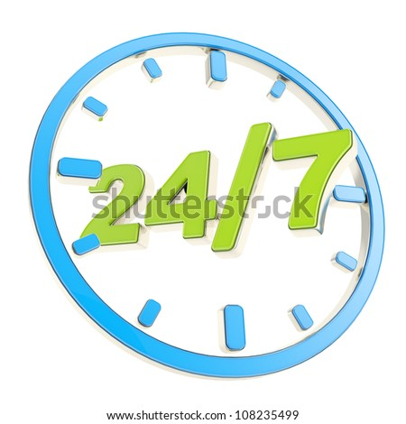 24/7 twenty four hour seven days a week glossy green and blue round emblem icon isolated on white background