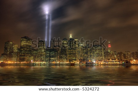 twin towers memorial  lights in lower Manhattan, New York city,United States of America