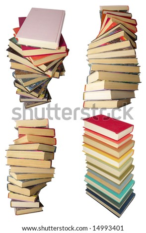 4 twirled piles of old books with color covers