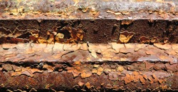 twisted metal,  abstract backdrop of rusty metal texture with  flaking paint and copy space. Anti-corrosion paint concept