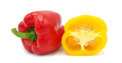 ฺTwo bell peppers isolated on white background.