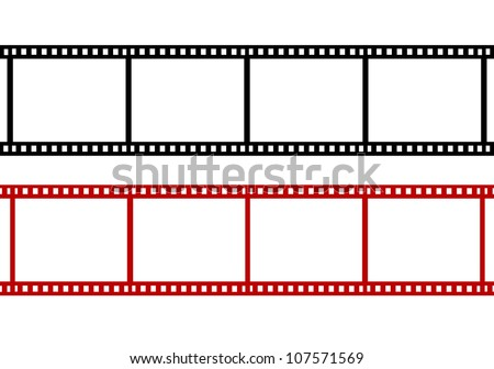 two blank red film strip