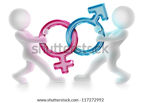 two characters pulling male and female gender symbols