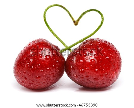 two cherries with drops tied into a heart love , isolated on white background
