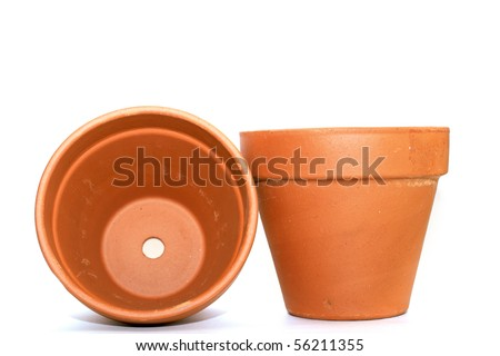 two clay flower pots over white background