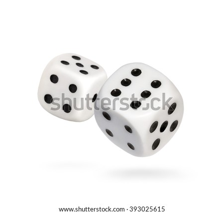 Two falling dice, isolated on White    #393025615