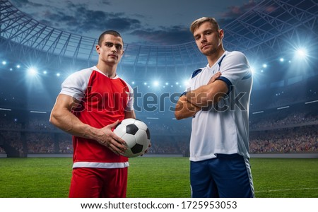 Two football players of different teams. They wear sportswear without a brand. Stadium and crowd made in 3D.