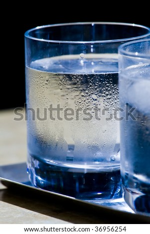 two glasses of icy water