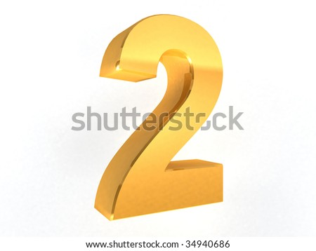 2 - two Gold Number on white background - 3d image