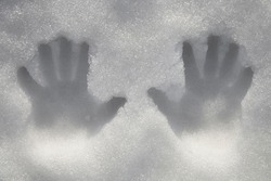 2 two hand Prints of both palms / hands on snow surface. Outdoors. Closeup. springtime season.