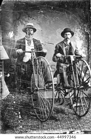 Two men on high wheel  boneshaker bicycles Penny Farthing 1880s, Vintage black and white tintype