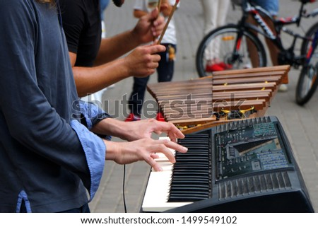 Two musicians on the street on a warm summer day. Digital piano and the traditional Xylophone. People around listen to music .              #1499549102