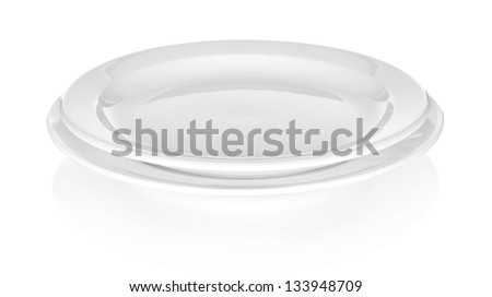 two plates on white background - stock photo