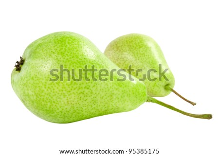 two ripe green pears isolated on white background