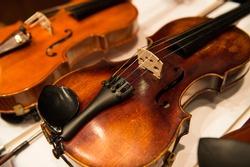 two violins close-up. wooden violins