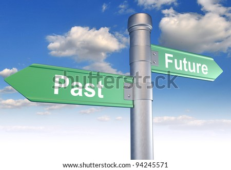Two-way street, sign pointing to the Past and Future. 3d render