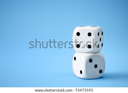 two white dices on blue background