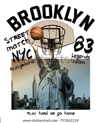 Typography with statue of liberty playing a basketball photo for t shirt printing, Graphic t shirt & Printed t shirt