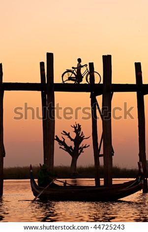 U bein bridge at Amarapura ,Mandalay, Myanmar.