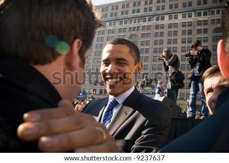 U.S. Senator Barack Obama (D-IL) campaigns at a rally in Rodney Square February 3, 2008 in Wilmington, Delaware.